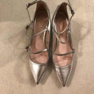 Topshop silver leather pointed toe flats